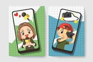 Card of journalist with photographer in cartoon character vector