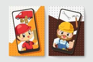 tarjeta de cartero con manitas en vector de personaje de dibujos animados
