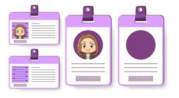 conjunto de tarjeta de empleado de identidad del personaje de dibujos animados de mujer trabajadora vector