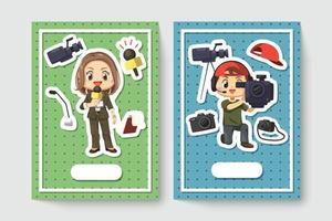 Card of cheerful female journalist and videographer in cartoon character vector