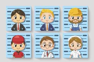 Card of various occupations Take photo of ID cartoon character vector