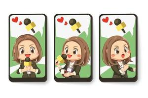 Card emotion of female journalist in cartoon character vector