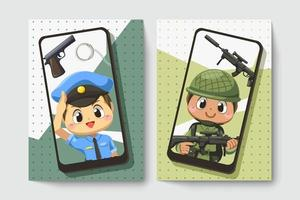 Card of police man and army soldier  in cartoon character vector