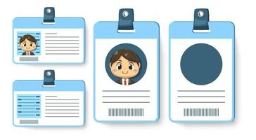 conjunto de tarjeta de identificación o empleado del personaje de dibujos animados de empresario vector