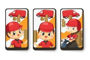 Tarjeta de emoción de cartero y caja de paquetería en personaje de dibujos animados vector