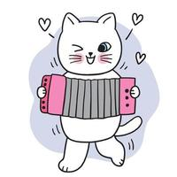 Cartoon cute white cat play music vector. vector