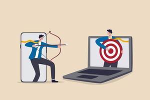 remarketing o retargeting conductual en la publicidad digital, anuncios en línea que seguirán al público objetivo en todos los dispositivos que lo usan, empresario desde la aplicación móvil apuntando al objetivo y otra computadora portátil. vector