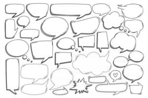 Various of different hand drawn bubble speech in doodle style. vector