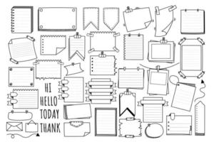 Various of different hand drawn bubble notes and bubble speech in doodle style. vector