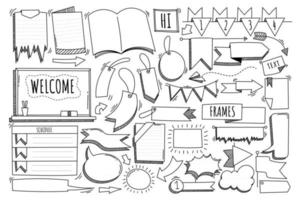 hand drawn doodle vector elements message, label, frame, banner, sign, ribbon, arrow, note for decorative, comic, diary and planner.