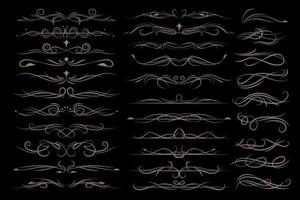 Vector luxury wedding line frame and ornate swirl dividers.