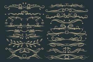 Set of floral vintage decorative ornament borders and page dividers. vector