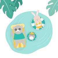 animals sunbathe on floating raft and swim rings in pool vector