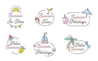 Set of Hello summer label Hand Drawn Design vector
