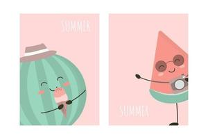 Summer holidays cards with watermelon vector