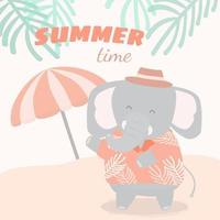 Lovely elephant has vacation on the beach in summer time vector