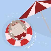 Lovely hedgehog lying on swim ring in summer holidays vector