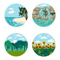 Drawing set of nature scene nice place for travel vector