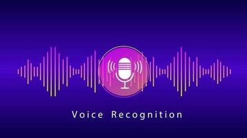 Voice Recognition and Personal Assistant Concept. Illustration of Gradient Vector sound wave and Microphone with bright voice button control. Voice imitation and intelligent technologies.
