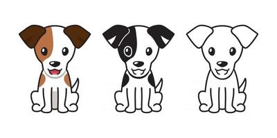 Vector cartoon set of jack russell terrier dog
