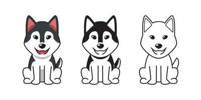 Vector cartoon set of siberian husky dog