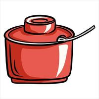 Sugar bowl. Sugar dish with a spoon. Cafe. A restaurant. Cartoon style. vector