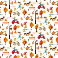 Autumn pattern. Yellow leaves, trees, bench lantern, girl with umbrella, dog. vector
