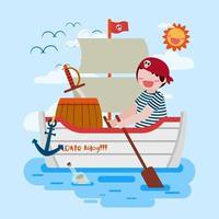 Salad boy boating pirate ship in the sea cartoon vector