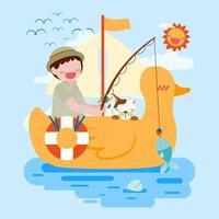 cute boy fishing on duck shaped rubber raft  cartoon vector