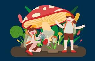 Lovely kids playing under large mushroom cartoon vector
