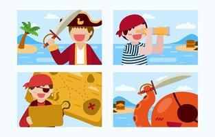 Bundle set of pirate man and salad boy cartoon vector