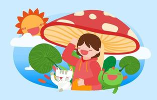 Lovely girl sitting under large mushroom cartoon vector