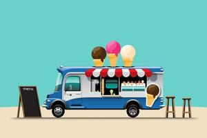 The food truck side view menu Ice cream wooden chair vector