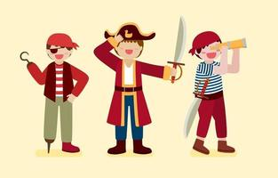 Set of pirate man in cartoon character vector