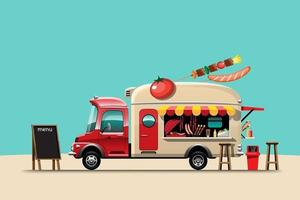 The food truck side view with menu barbecue vector