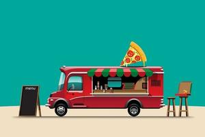 The food truck side view with pizza vector illustration