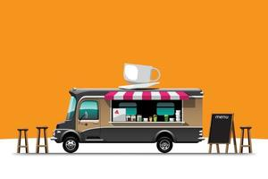 The food truck side view menu coffee wooden chair vector