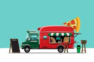 The food truck side view with pizza menu vector