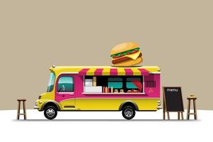 The food truck side view with Hamburger vector illustration