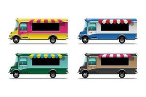 set of truck vehicle sale street or fast food vector