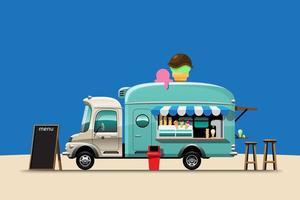Green pastel of food truck sale Ice cream vector