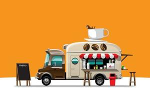The food truck side view with menu of coffee vector