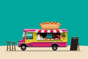 The food truck side view with menu hotdog vector