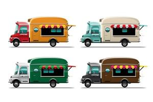 Set of Food truck street food and fastfood delivery transport vector