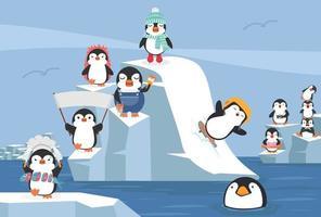Set of cartoon Penguins winter north pole arctic vector
