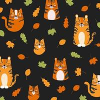 Autumn childish pattern with foliage and cute striped tigers. Cartoon vector background