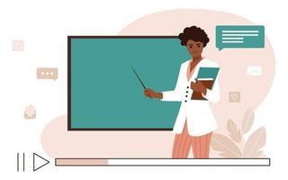 Online learning concept. Video lesson with African American woman teacher and school chalkboard. Flat vector illustration