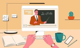 Video lesson for the student or schoolboy. A working table with a computer where on the monitor screen a man teacher points to a chalkboard. Online learning. Flat vector illustration