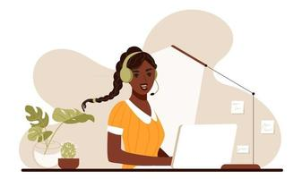 African american woman sitting at home with laptop streaming live on blog on social media. Podcast concept. Vlogger cartoon vector characters.