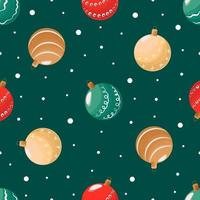 Seamless pattern Christmas balls on a green background and snow. Flat vector illustration for wrapping paper or greeting card for New Year